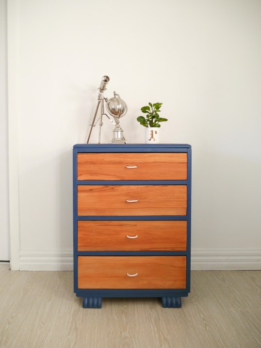 Blue wooden dresser upcycle