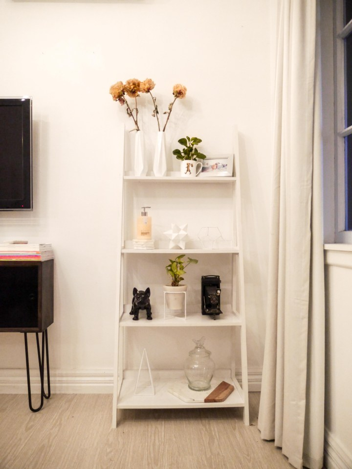 Kmart Ladder shelf styled